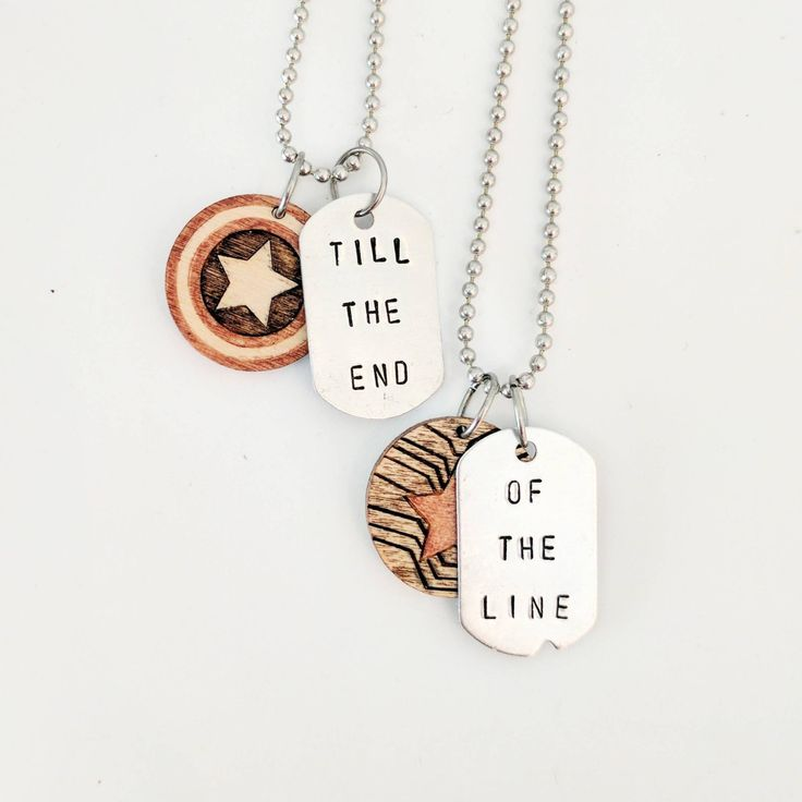 Till the end of the Line - Steve Rogers - Bucky Barnes - Captain America - The Winter Soldier - Friendship Necklace - Marvel - Geek Gift by aSaltyShop on Etsy