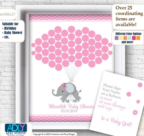 Elephant Guest book Alternative for Boy Baby Shower with Girl Elephant, pink grey, chevron,wall decor, welcome sign - ao46bs27