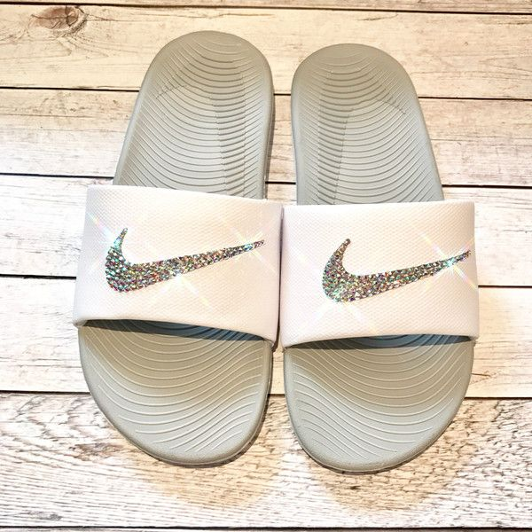 Bling Nike Slides Crystal Nikes Flip Flops Sparkly Sandals Bling Flip... ($65) ❤ liked on Polyvore featuring shoes, sandals, flip flops, flip flops & thongs, silver, women's shoes, summer sandals, gray sandals, white sandals and beach sandals