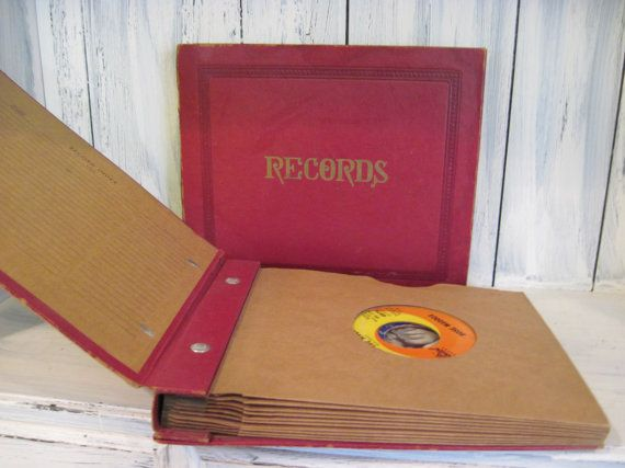 Vintage red leatherette cover 45 rpm vinyl record album book set of 2, vinyl record holder album, record album art, 45 rpm record case by HTArtcraftAndVintage