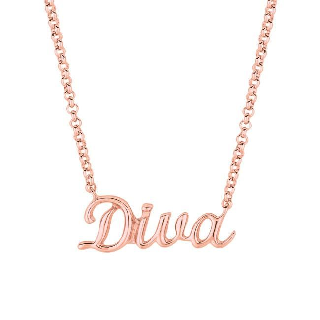 Pink Gold over Silver Expression 'Diva' Necklace, Women's