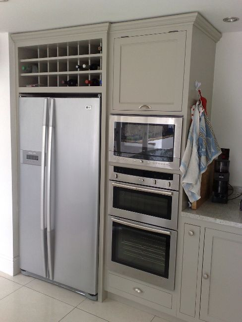 Freestanding American fridge, with solid wood cabinets and integrated appliances, Wicklow and Dublin. #HomeAppliancesThoughts