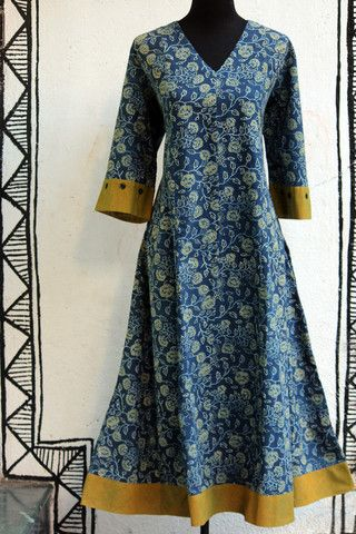 long kurta - indigo+yellow ajrakh & flower jaal