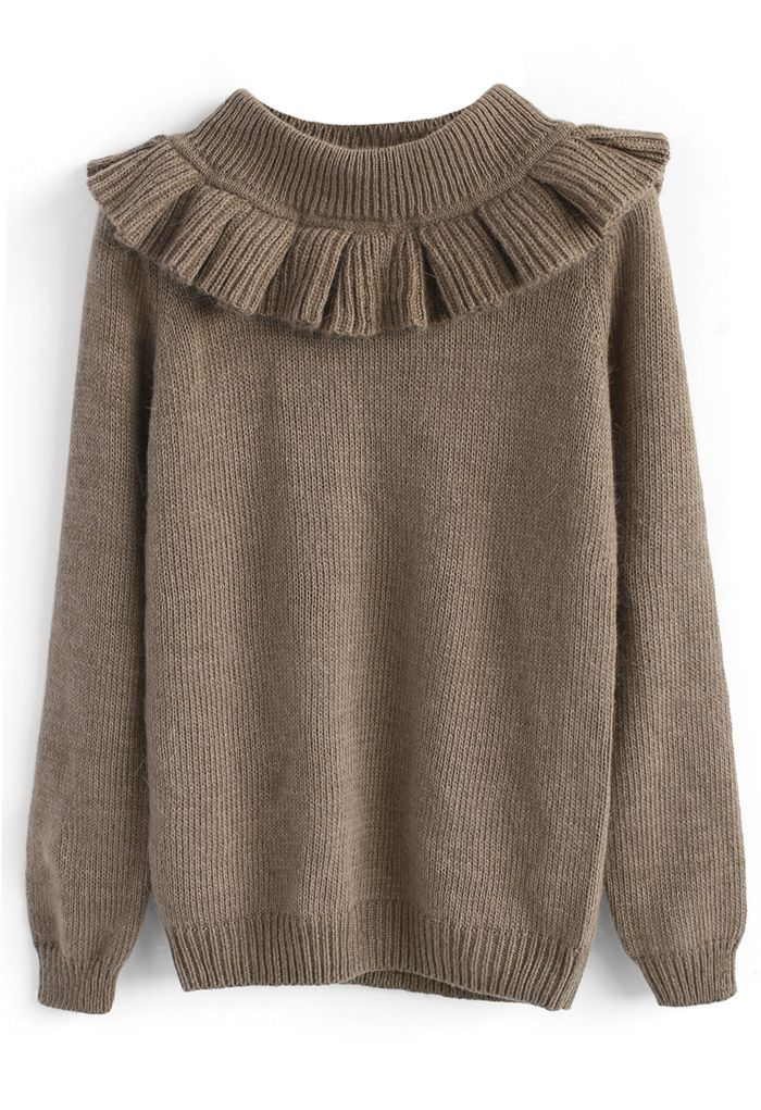 Jolly Detachable Collar Sweater in Light Brown - New Arrivals - Retro, Indie and Unique Fashion