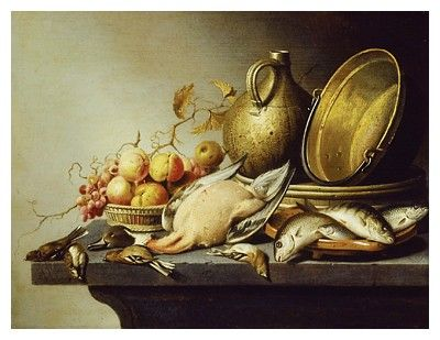'Still Life of Game, Fish, Fruit and Kitchen Utensils', (oil on panel)