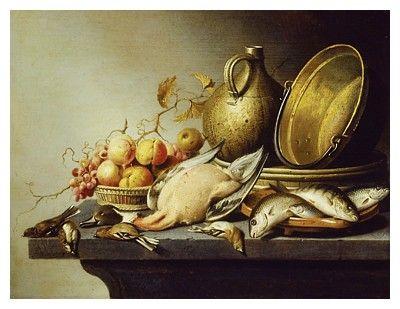 'Still Life of Game, Fish, Fruit and Kitchen Utensils', (oil on panel) Harmen Steenwyck was a Dutch 'Vanitas' still life painter.