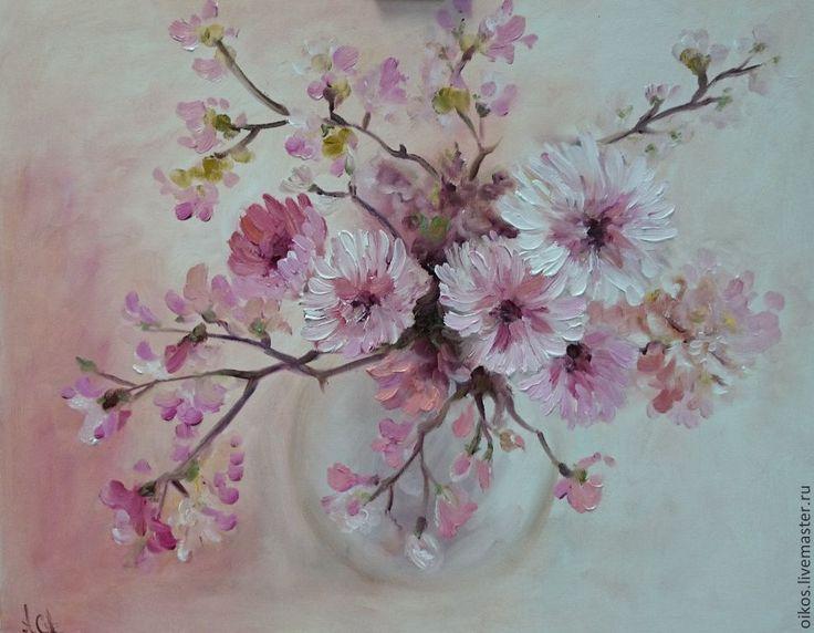 Нежно-розовые цветы - авторская картина маслом в спб Р - розовый,белый