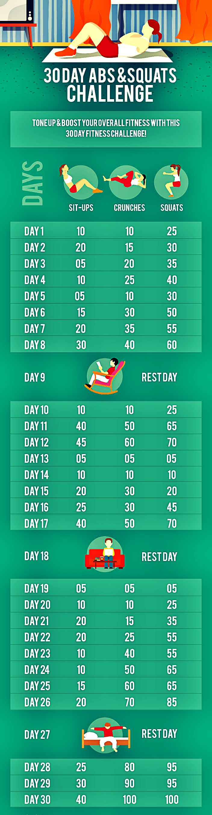30 day abs & squats challenge