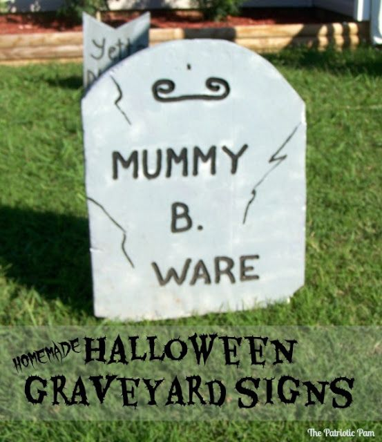 Halloween Graveyard Signs (Homemade how to's)
