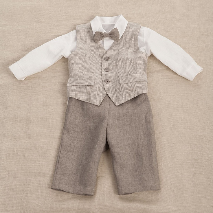 Baby Boy Linen Suit Ring Bearer Outfit Boy Baptism Natural