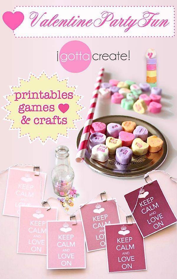#Valentine party printables, games, crafts and more!   Visit http://igottacreate.blogspot.com