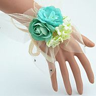 Wedding+Flowers+Hand-tied+Roses+Wrist+Corsages+Wedding+Green+Polyester+/+Tulle+/+Rhinestone+–+USD+$+9.98
