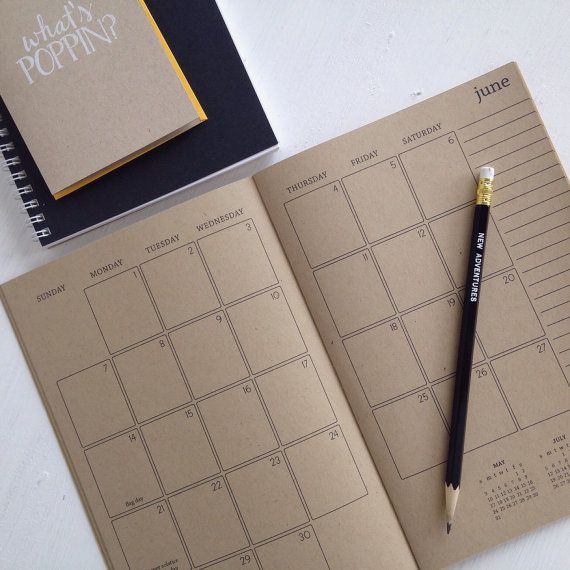 2015 kraft monthly planner by lettercdesign on Etsy