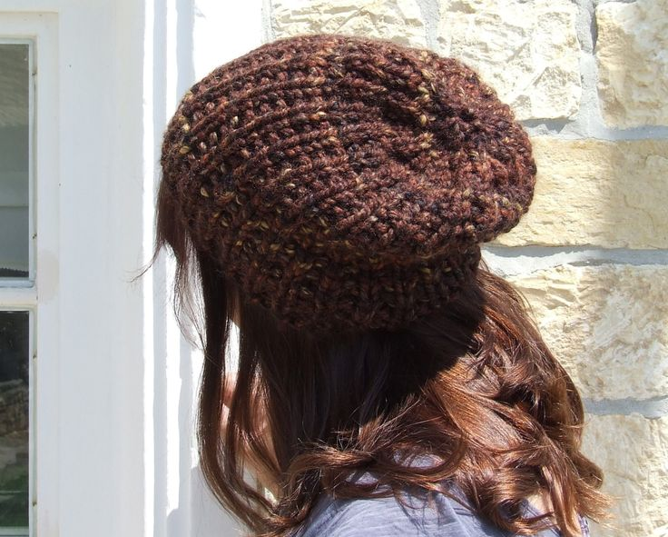 Knit slouch beanie - slouch hat - mens slouch beanie - ladies slouch beanie - Unisex knitted chunky brown slouch beanie hat by WoolieBits on Etsy