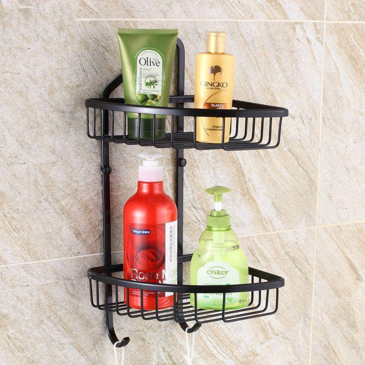 Black Bronze Antique Bathroom Shelf Corner Basket Pendant Retro Wall Tripod Bathroom Accessories Brushed Bathroom Shelves