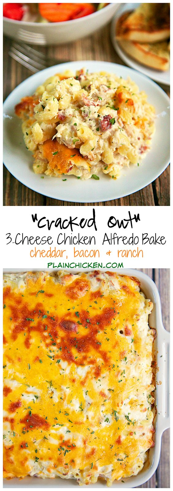 """Cracked Out"" Three Cheese Chicken Alfredo Bake Recipe - chicken, cheddar, bacon, ranch, alfredo sauce, pasta, mozzarella - makes a ton! Great for a potluck. We like to freeze half of it unbaked for later. Great reheated too! Once of our favorite weeknight casseroles!"