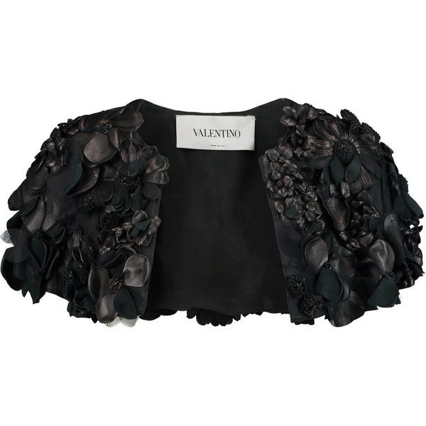 Valentino Cropped faux leather-appliquéd silk-organza jacket (62.825 RUB) ❤ liked on Polyvore featuring outerwear, jackets, black, floral faux leather jacket, cropped faux leather jacket, vegan jacket, flower print jacket and synthetic leather jacket