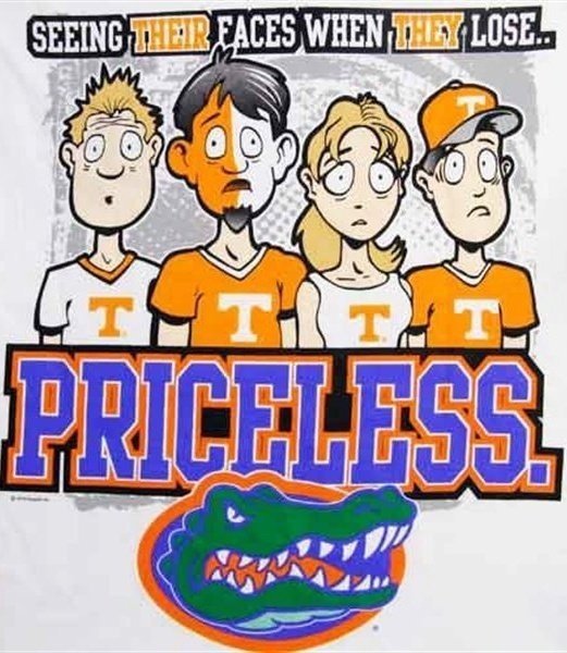 Florida Gators!!! & since I live in Tennessee I see their faces all the time.
