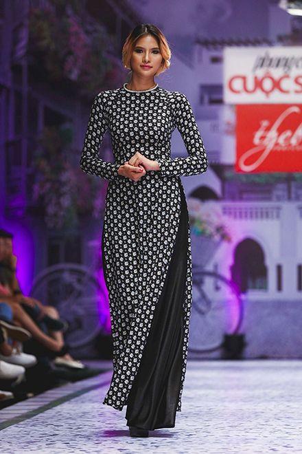 Áo dài họa tiết của Minh Châu - VnExpress Giải Trí