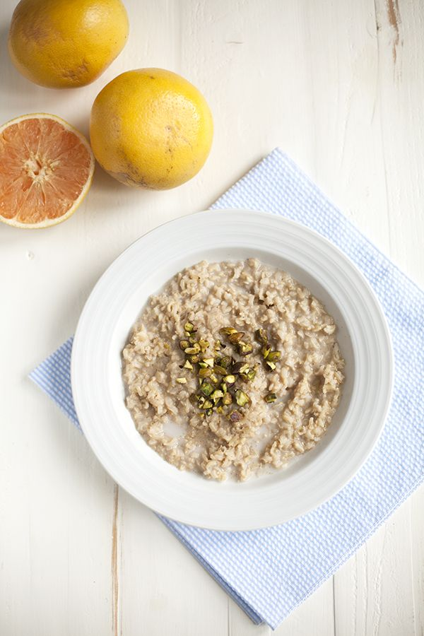 Basmati Rice, Cardamom, and Pistachio Porridge with Grapefruit