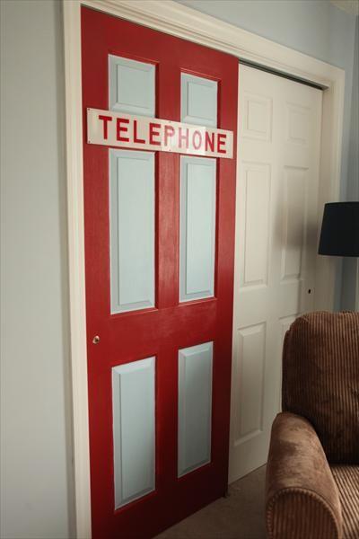 telephone booth door for a superhero nursery
