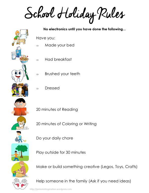 Kids Summer Checklist, School Holiday Rules.  Kids have to complete the list before they can watch TV or play video games.  Screen time isn't limited 'cause it's summer.  Win-win! Free Printable
