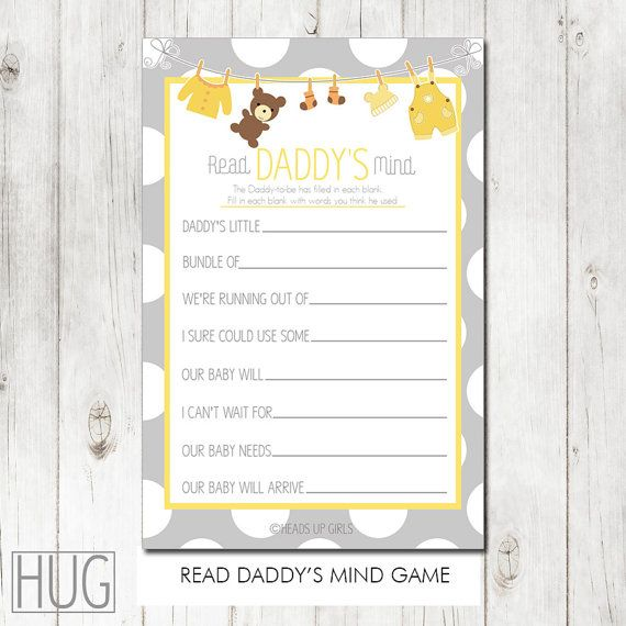 Baby Showers Reading ~ Digital printable baby shower read daddy s mind game in