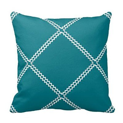 White Crisscross Design on Dark Teal Throw Pillow Cover Case Decor with Zipper 18X18 Inches Two Sides for Sofa