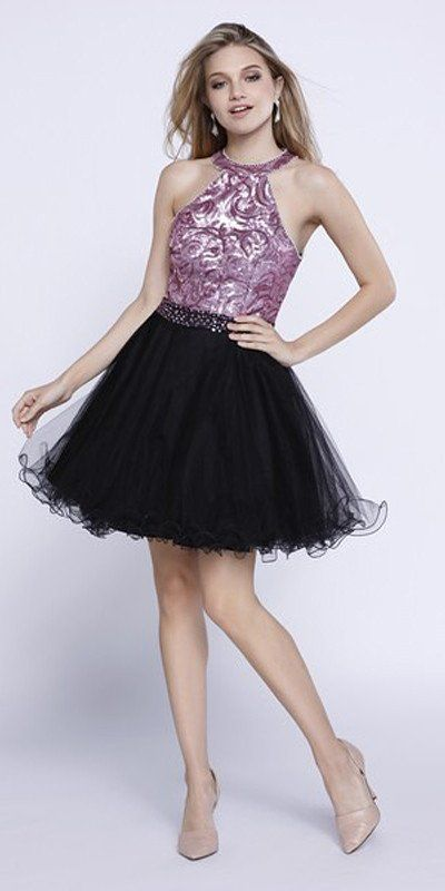 Short Sequin Top Homecoming Dress Pink/Black Tulle Poofy ...