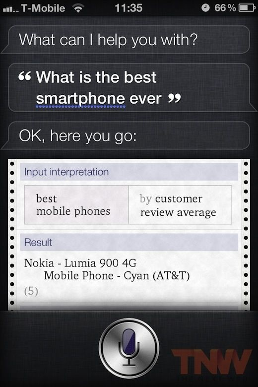 Siri answer about best smartphone ever...