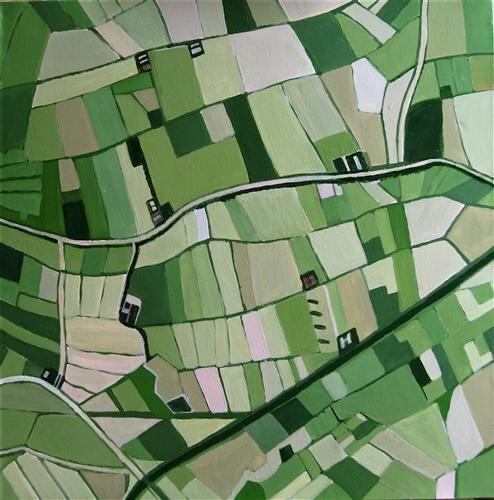 """Farmland"" by Toni Silber-Delerive - http://www.ugallery.com/toni-silber-delerive - acrylic painting"