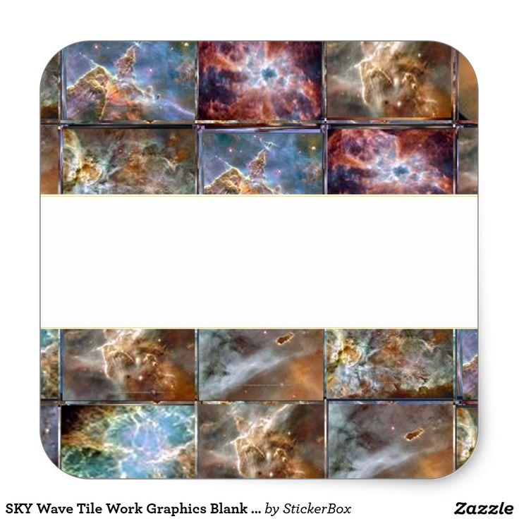 SKY Wave Tile Work Graphics Blank write Strip DIY Square Sticker