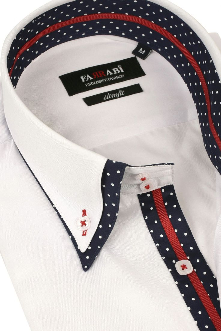 F7 White/Navy Shirt | Farrabi Slim Fit | Exclusive Luxury Shirts