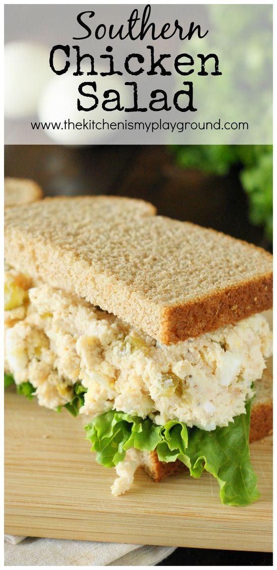 Traditional Southern Chicken Salad ... creamy & comforting! http://www.thekitchenismyplayground.com