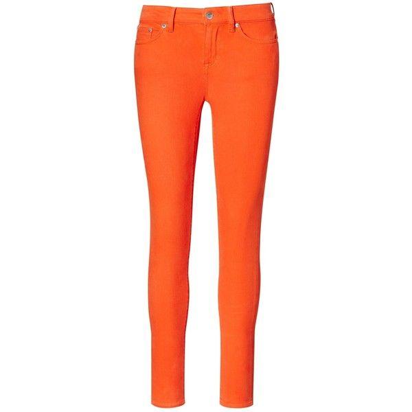 Lauren Ralph Lauren Premier Skinny Jeans, Orange (670 RON) ❤ liked on Polyvore featuring jeans, zipper skinny jeans, slim low jeans, mid rise jeans, denim skinny jeans and ralph lauren skinny jeans