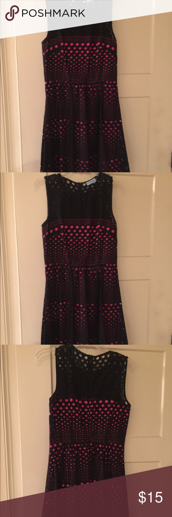 """Cynthia Rowley Black eyelet lace dress Black eyelet dress with hot pink lining. Hits just above the knee on height of a 5'4"""" person. Dresses Midi"""