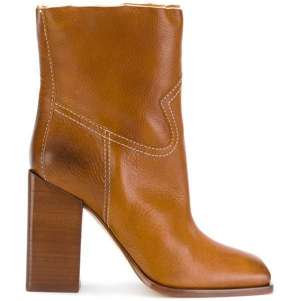 Saint Laurent Jodie 105 Western ankle boots ($1,095) ❤ liked on Polyvore featuring shoes, boots, ankle booties, brown, cowgirl boots, ankle boots, brown cowboy boots, brown ankle boots and leather booties