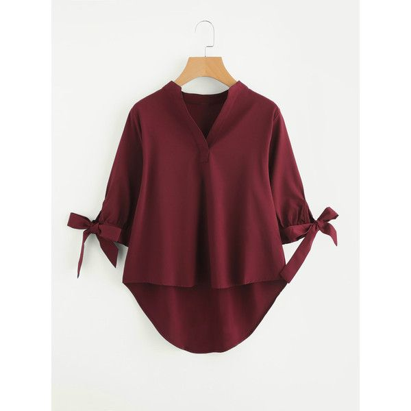 SheIn(sheinside) Tie Cuff Dip Hem Blouse (225 ARS) ❤ liked on Polyvore featuring tops, blouses, burgundy, red bow blouse, half sleeve blouse, elbow length sleeve tops, red blouse and bow tie blouse