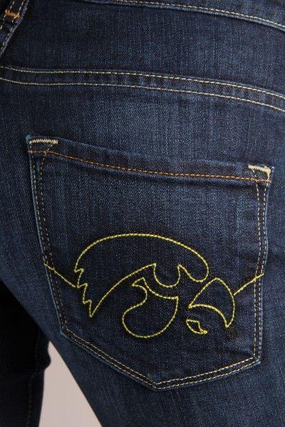 OCJ Apparel | Premium Collegiate Denim | Iowa Hawkeyes Bootcut Jeans Mascot in Deep Indigo | www.ocjapparel.com