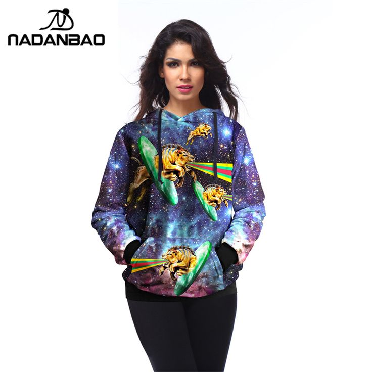 ==> [Free Shipping] Buy Best NADANBAONew Purple Galaxy Hoodies Pullovers Women Sweatshirt Tiger Print moletom Outside Woman Sudaderas mujer Online with LOWEST Price | 32590922446