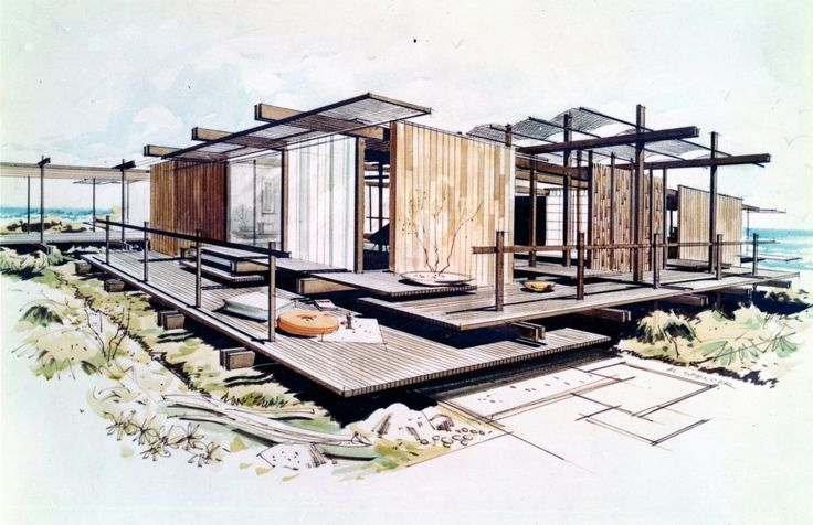 Outside In: The Architecture of Smith and Williams; Wayne Williams (1919–2007) and Whitney Smith (1911–2002), 3.Shoreline House for Orange County Home Show, Costa Mesa, California, 1957; Photograph by Jocelyn Gibbs, 2012 of a drawing by Al Spencer © Regents of the University of California --