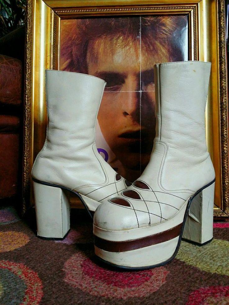 "Vintage 1970's Glam Rock 5"" Platform Boots Shoes.David Bowie,Slade,T-Rex,Size 9  | eBay"