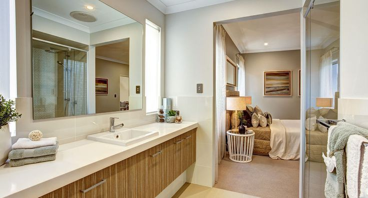 Master ensuite in the Emirates by Summit Homes. Discover more at https://www.summithomes.com.au/display-homes