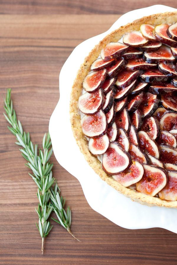 Fresh Fig Tart With Rosemary Cornmeal Crust & Lemon Mascarpone Cream