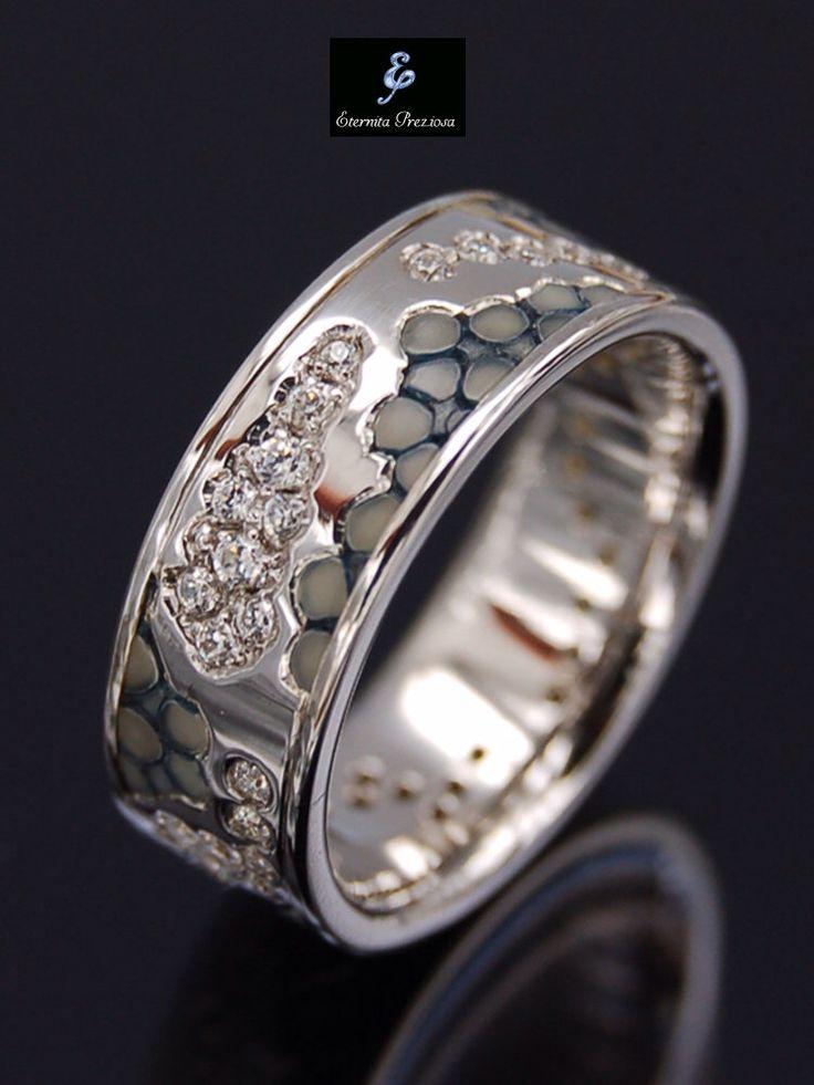 18K Gold diamond wedding band,Unique wedding ring,Handmade diamond ring, Alternative Engagement Ring, 18K White gold with Diamonds & Leather by EternitaPreziosa on Etsy https://www.etsy.com/listing/227133479/18k-gold-diamond-wedding-bandunique