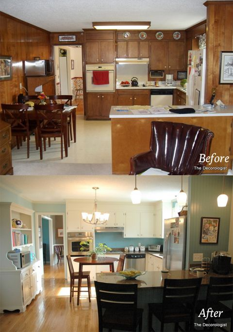 The Decorologist Shows A Before And After Of A Living Room And Kitchen  After Painting Wood Paneling. Paint Your Wood Paneling, Change Your Life!