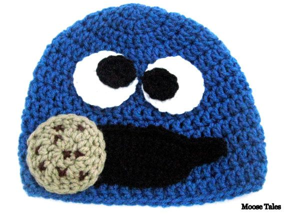 Moose Tales: Cookie Monster Hat. Avaliable in sizes 0-18 months. #cookiemonster #babycrochet