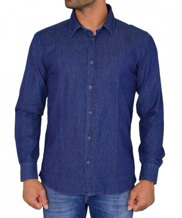 cb8fc141efe7 Ανδρικό τζιν πουκάμισο σκούρο μπλε Greenwood 04K600372  ανδρικάπουκάμισα   ρούχα  στυλ  ντύσιμο  άνδρας