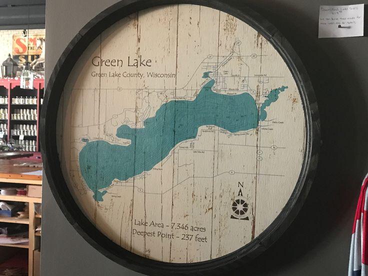 """Green Lake WI - Green Lake County - Barrel End Lake Art - 23"""" Round"""