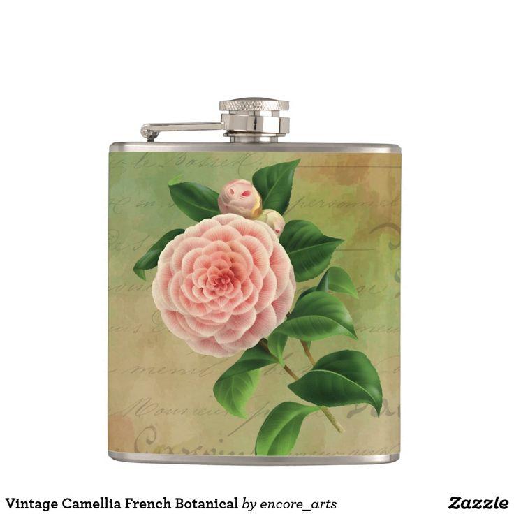 Vintage Camellia French Botanical Flask